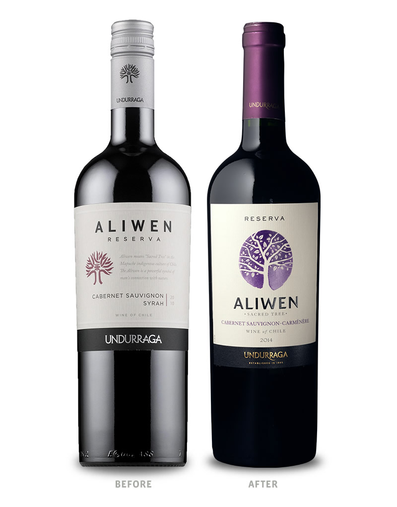 Aliwen Wine Packaging Before Redesign on Left & After on Right