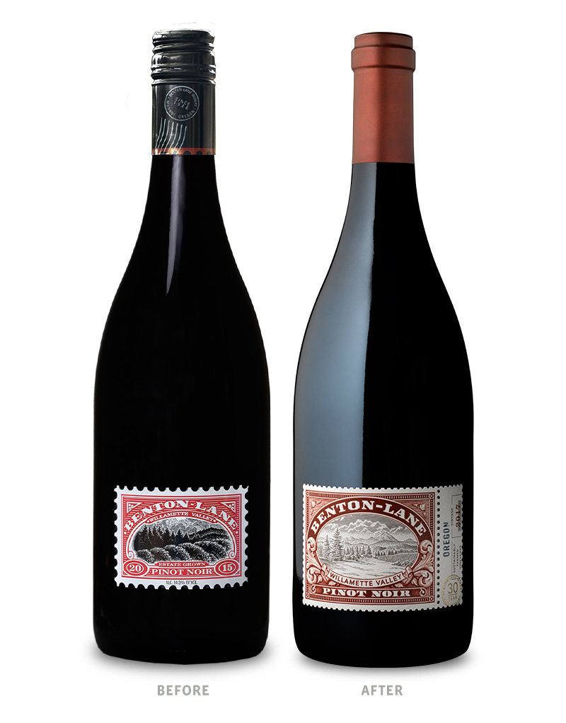 Benton-Lane Wine Packaging Before Redesign on Left & After on Right
