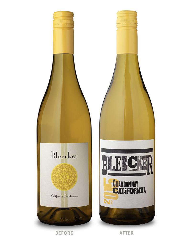 Bleecker Wine Packaging Before Redesign on Left & After on Right