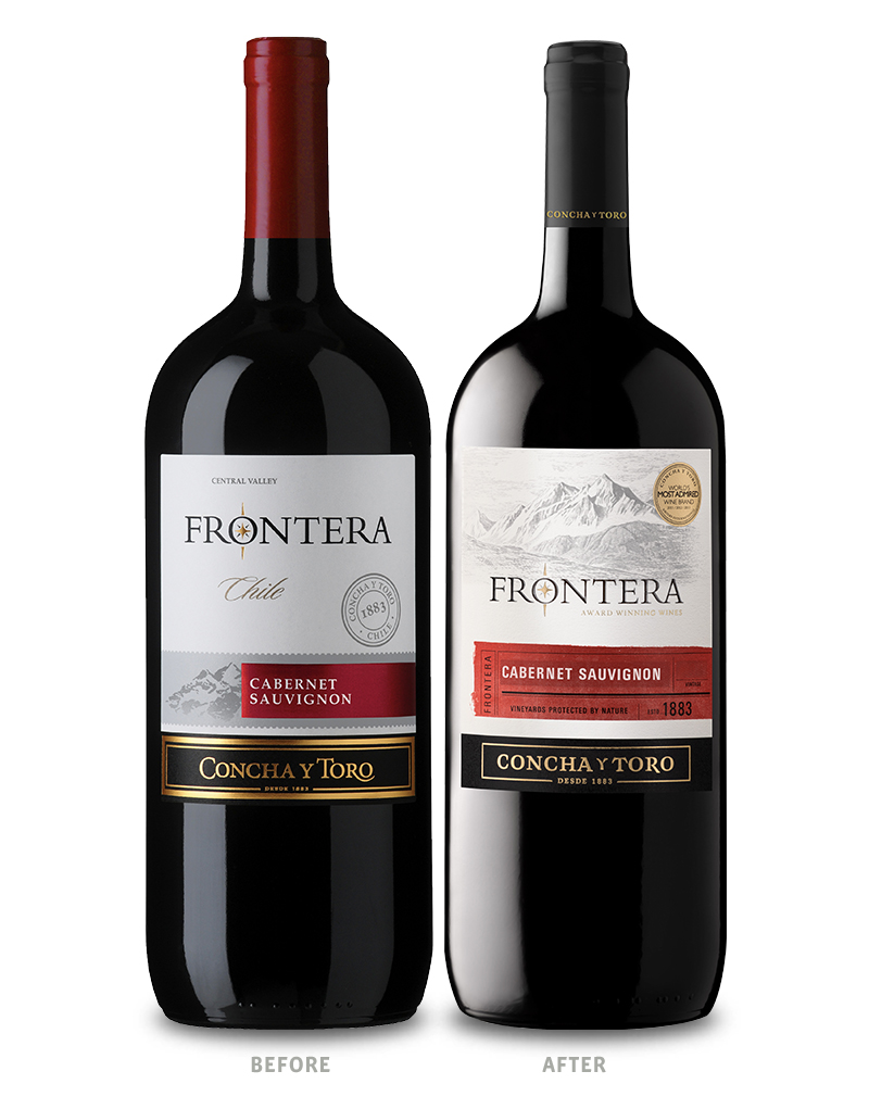 Frontera Wine Packaging Before Redesign on Left & After on Right
