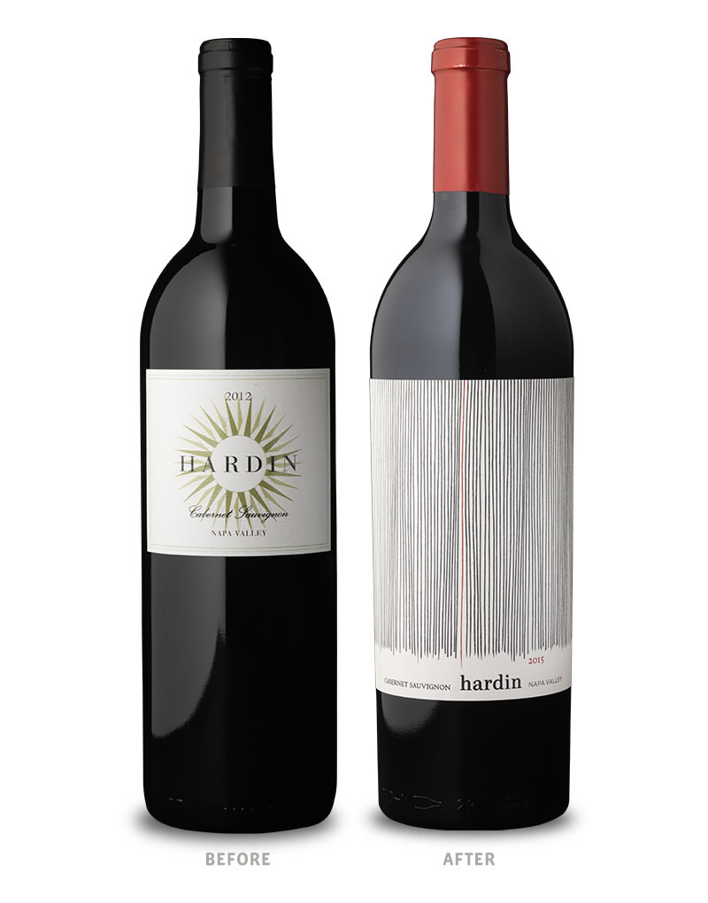 Hardin Wine Packaging Design Before Redesign on Left & After on Right