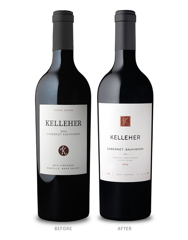 Kelleher Family Vineyards Wine Packaging Before Redesign on Left & After on Right