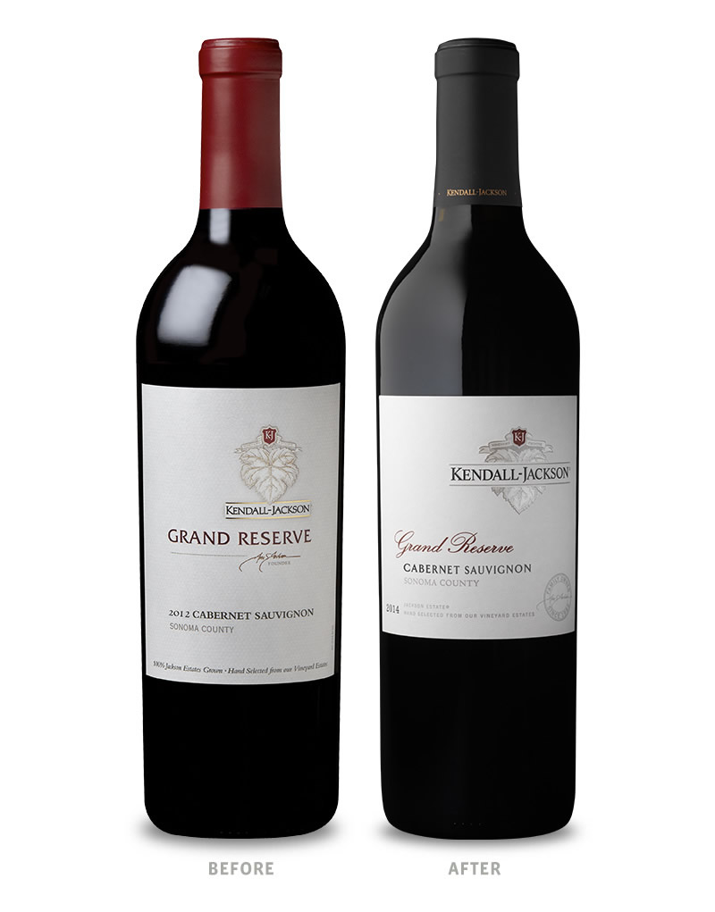 Kendall-Jackson Grand Reserve Red Wines Packaging Before Redesign on Left & After on Right