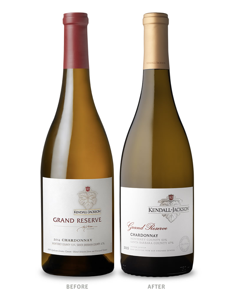 Kendall-Jackson Grand Reserve White Wines Packaging Before Redesign on Left & After on Right