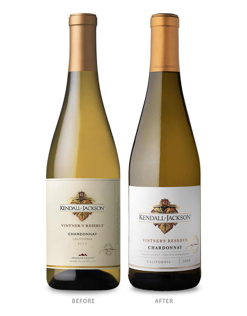 Kendall-Jackson Vintner's Reserve White Wine Packaging Before Redesign on Left & After on Right