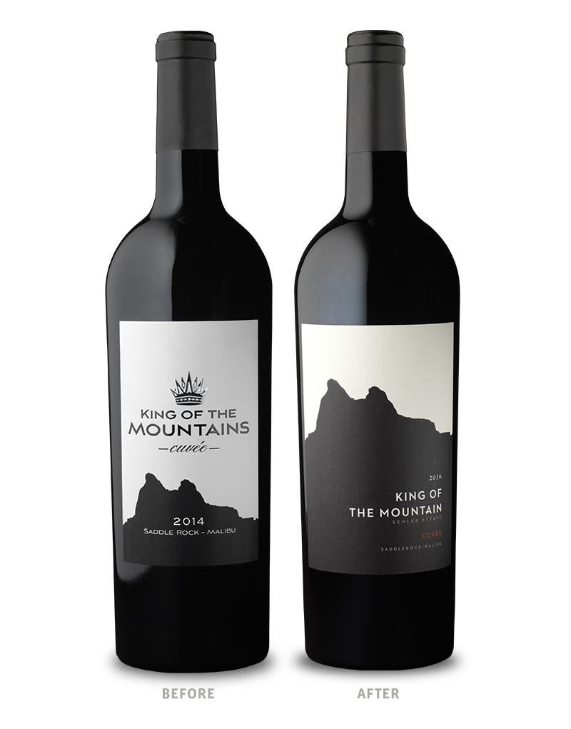 Semler Wine Packaging Before Redesign on Left & After on Right