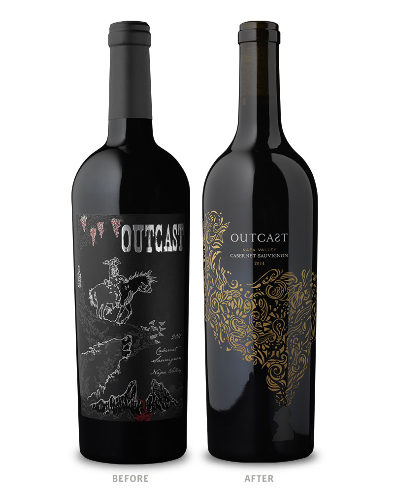 Outcast Wine Packaging Before Redesign on Left & After on Right