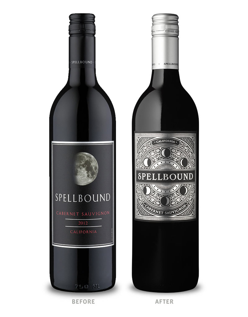 Spellbound Wine Packaging Before Redesign on Left & After on Right