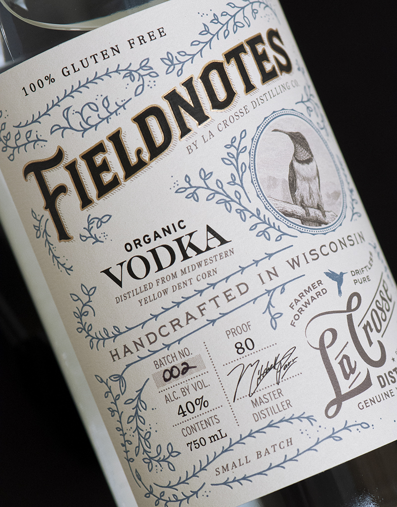 Fieldnotes Vodka Packaging Design & Logo Label Detail