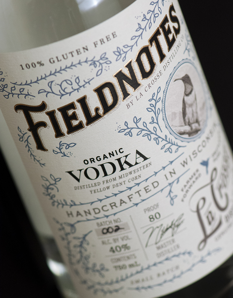 Fieldnotes Vodka Packaging Design & Logo Wordmark Detail