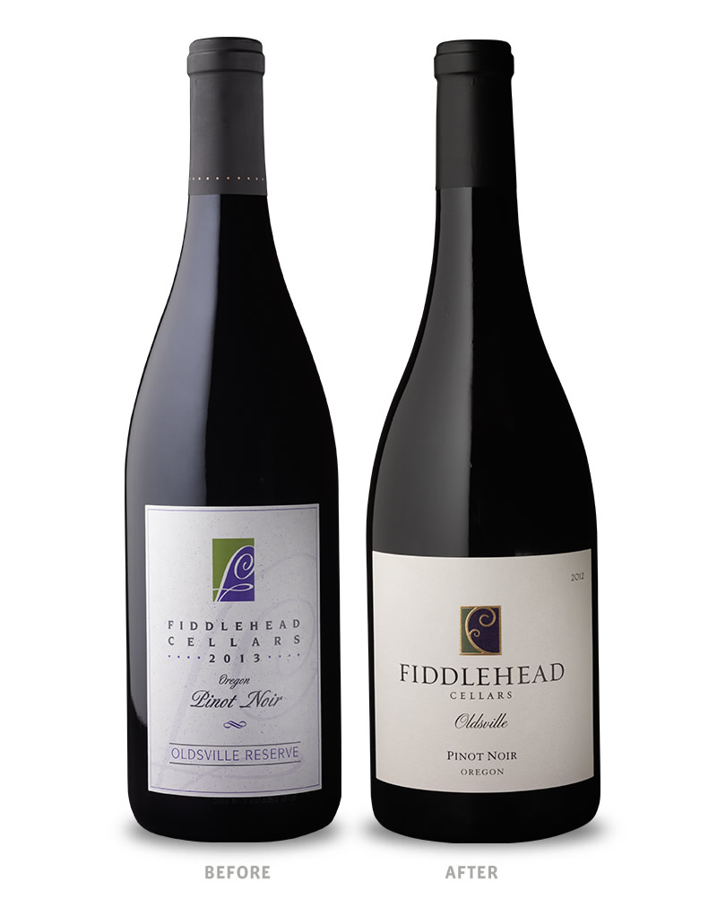 Fiddlehead Cellars Wine Packaging Before Redesign on Left & After on Right