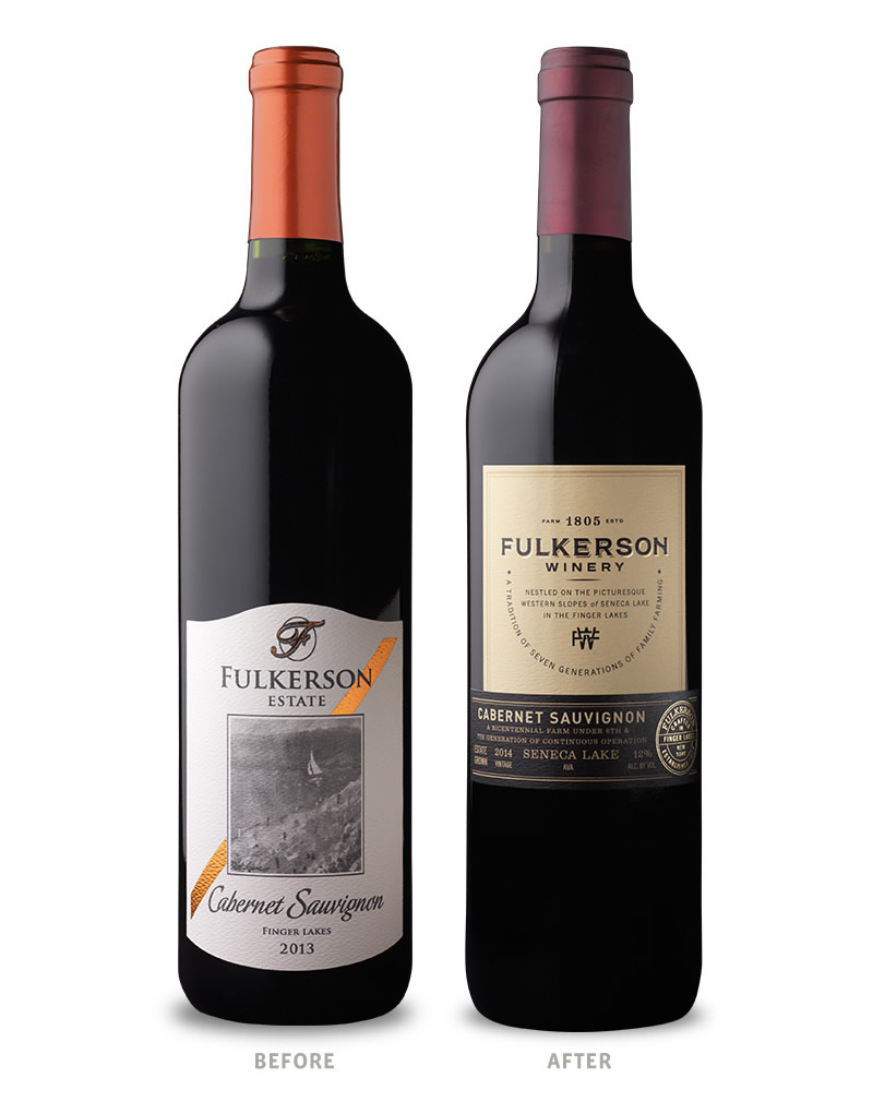 Fulkerson Winery Packaging Before Redesign on Left & After on Right