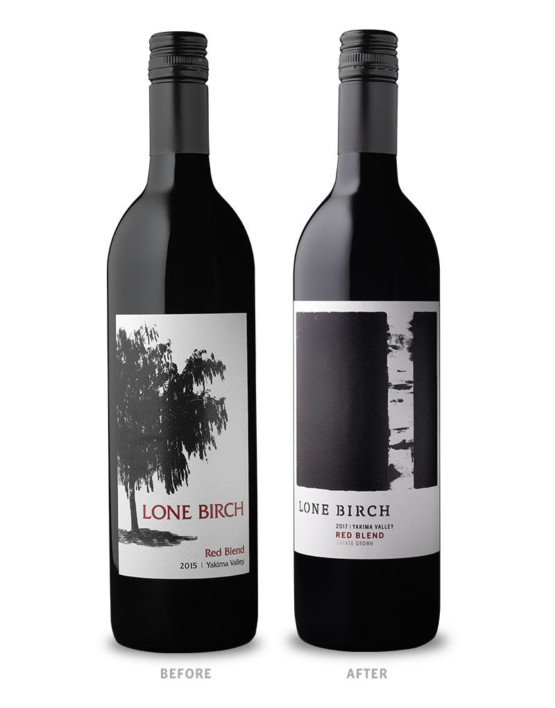 Lone Birch Wine Packaging Before Redesign on Left & After on Right