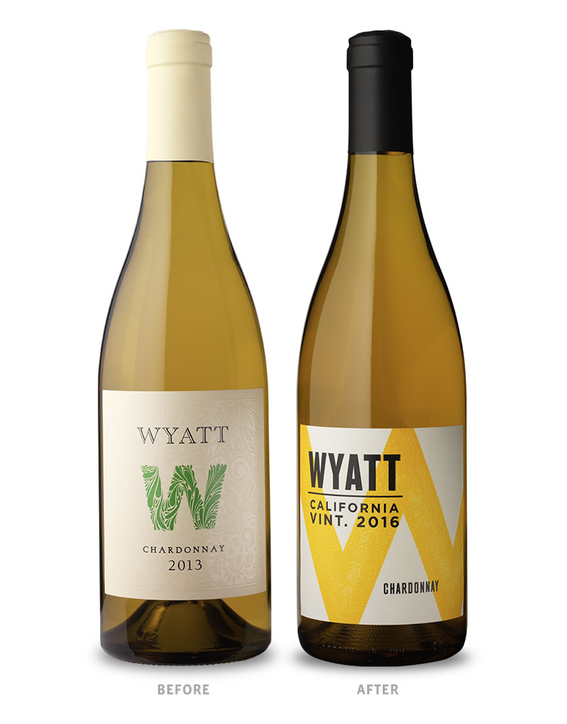 Wyatt Wine Packaging Before Redesign on Left & After on Right