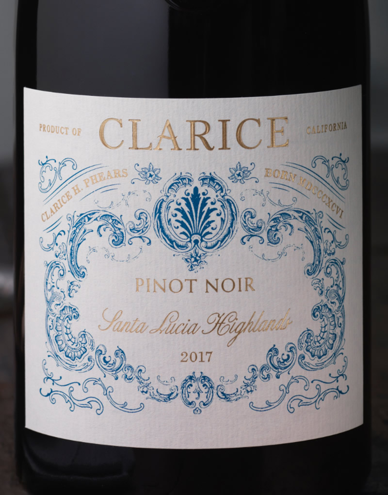 Clarice Wine Packaging Design & Logo Close Up