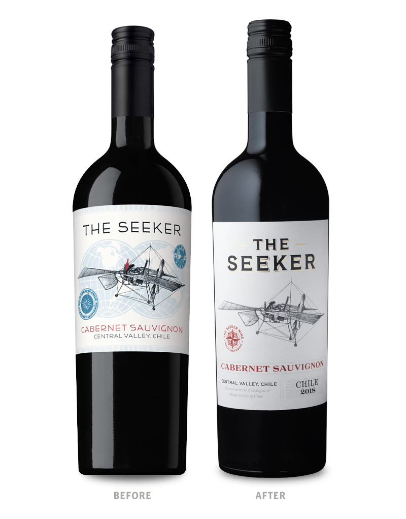 The Seeker Wine Packaging Before Redesign on Left & After on Right