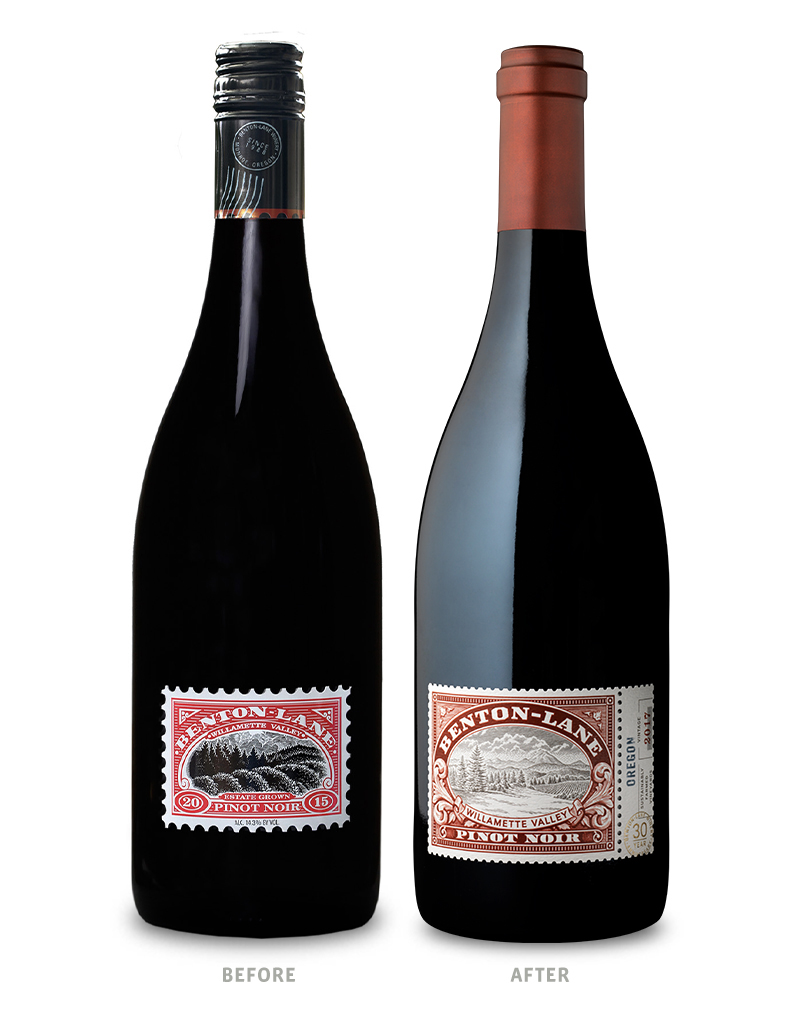 Benton-Lane Winery Packaging Before Redesign on Left & After on Right