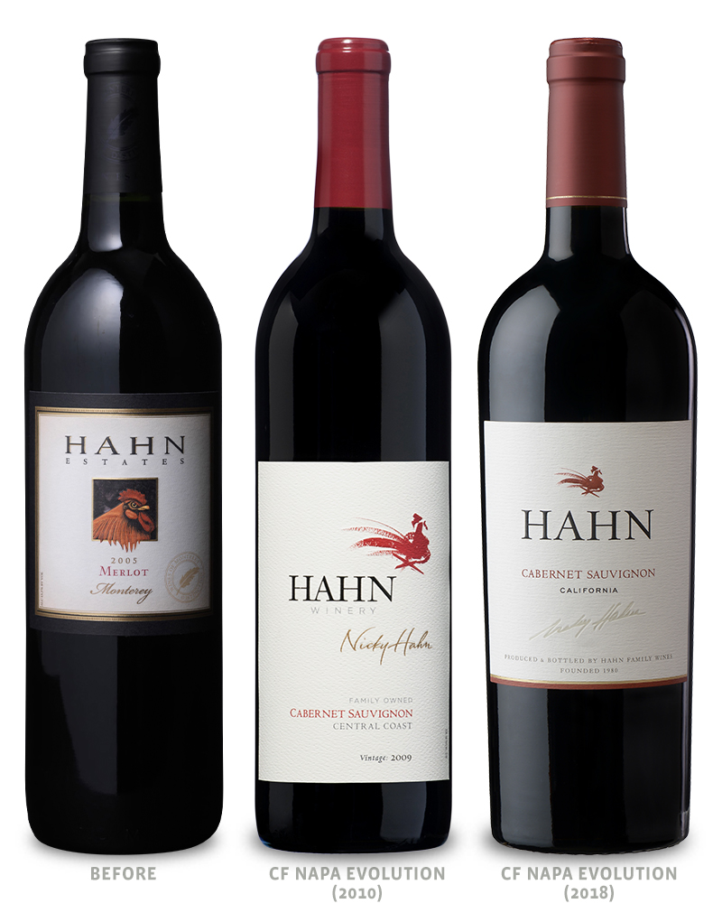 Hahn Family Wines Packaging Before Redesign on Left and 2 Redesigns Middle & Right