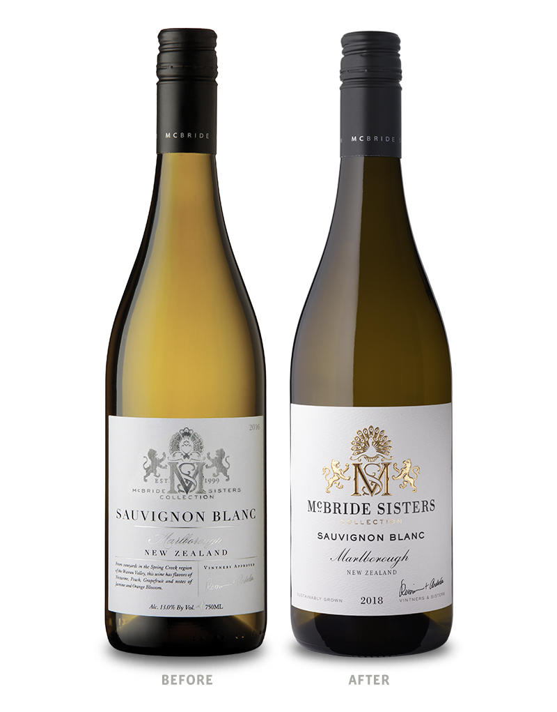 McBride Sisters Collection Wine Packaging Before Redesign on Left & After on Right