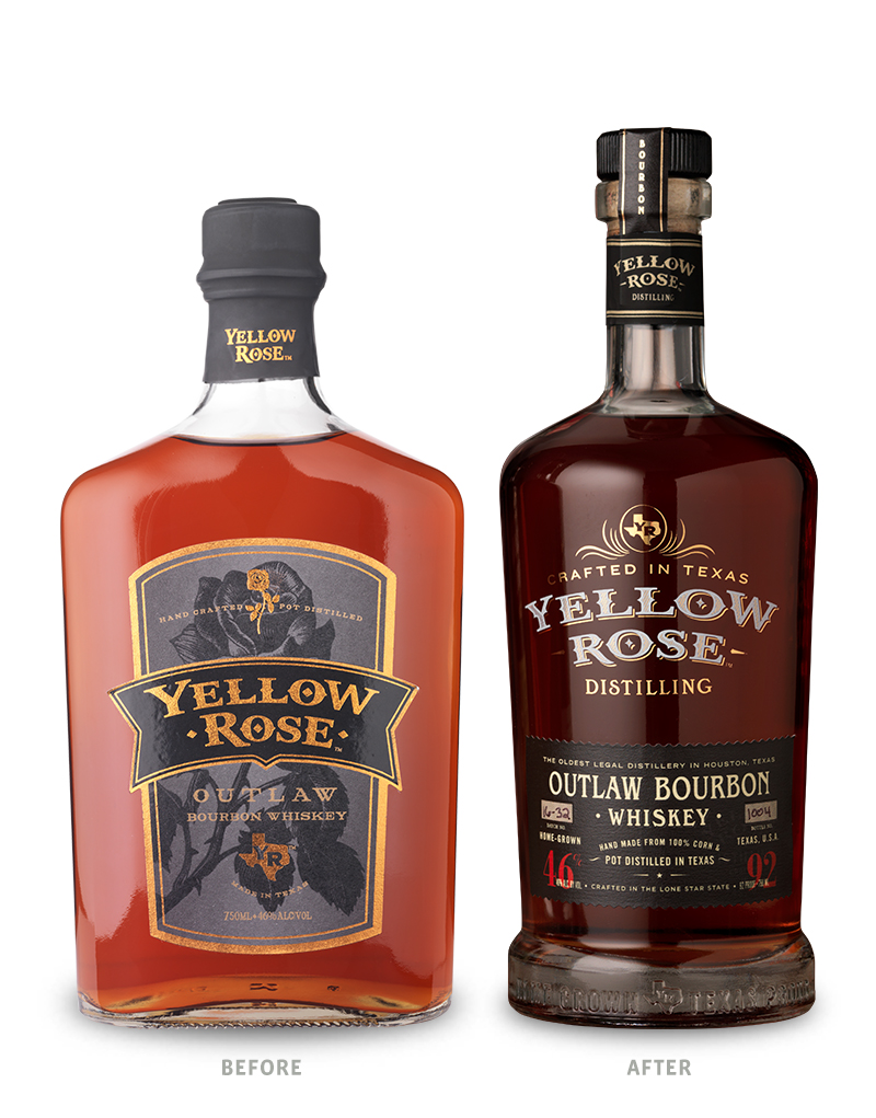 Yellow Rose Distilling Whiskey Packaging Before Redesign on Left & After on Right