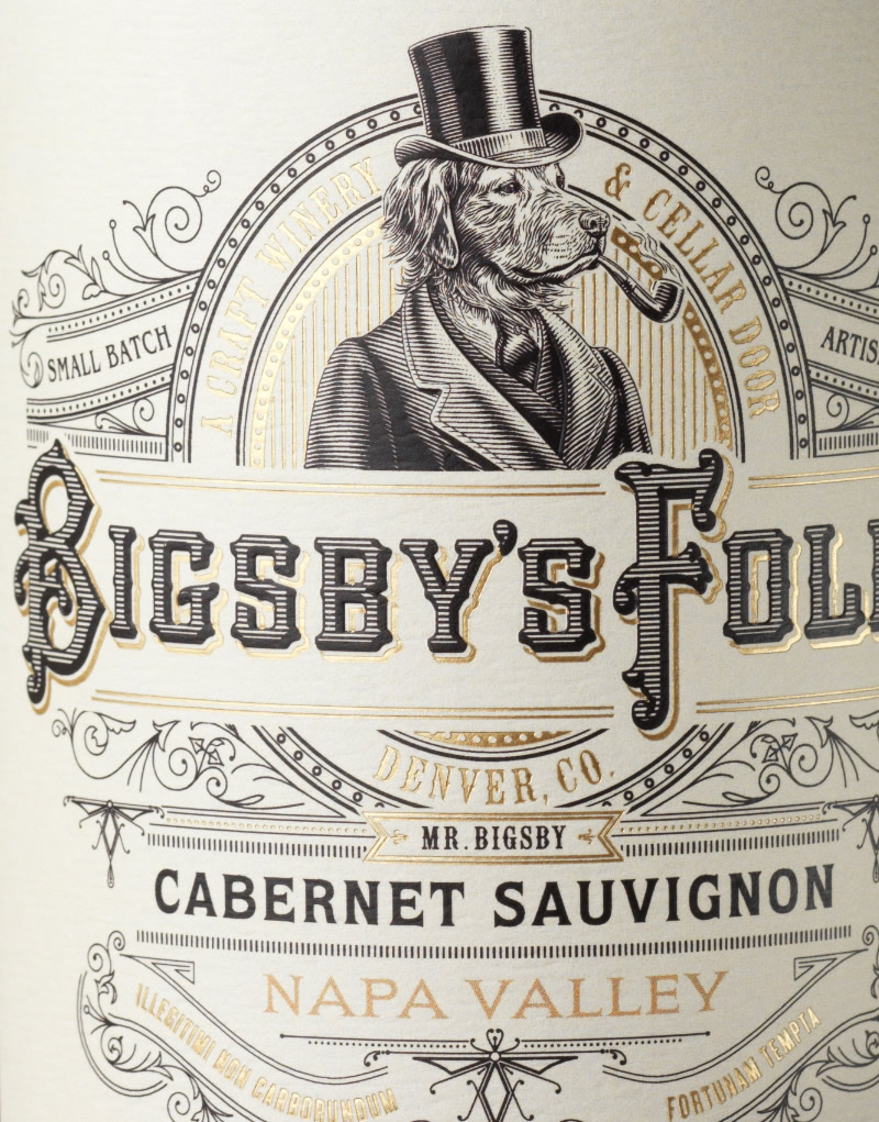 Bigsby's Folly Wine Packaging Design & Logo Close Up