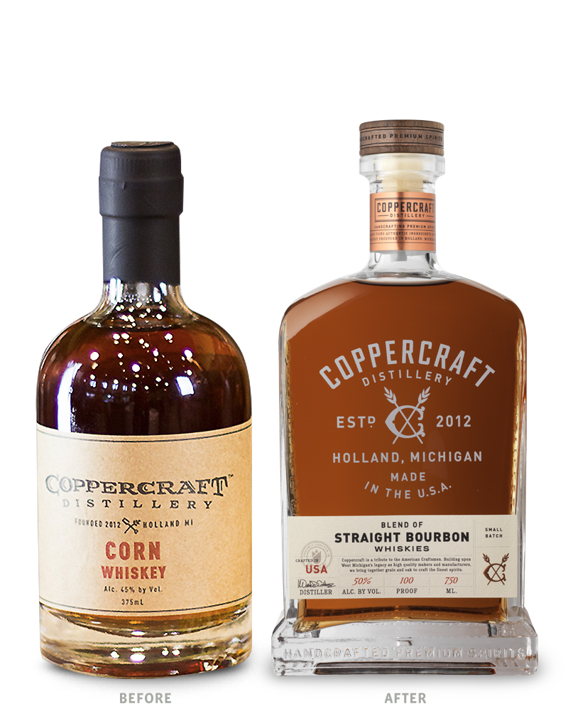 Coppercraft Distillery Spirits Packaging Before Redesign on Left & After on Right