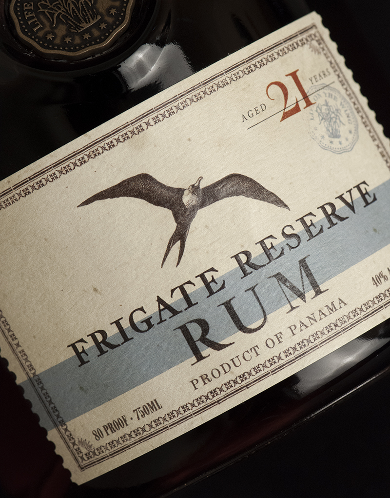 Frigate Reserve Rum Packaging Design & Logo Label Detail