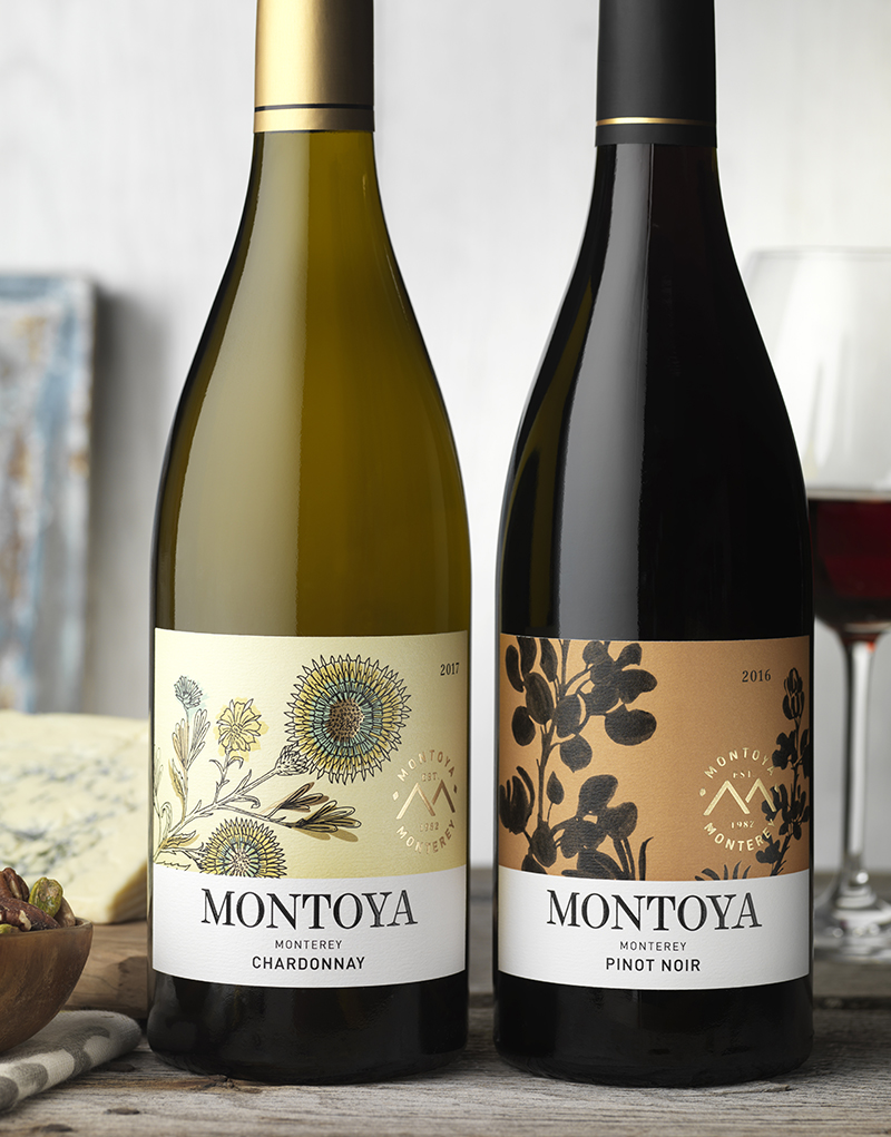 Montoya Wine Packaging Design & Logo Chardonnay & Pinot Noir