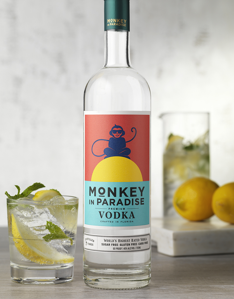 Monkey In Paradise Vodka Packaging Design & Logo