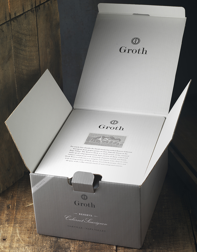 Groth Vineyards & Winery Inside Top Layer 6 Pack Shipper Design
