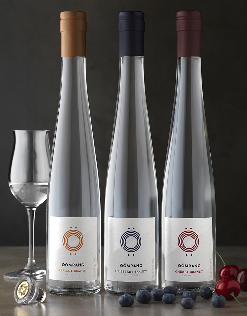Öömrang Apricot, Blueberry, Cherry Eau de Vie Packaging Design & Logo