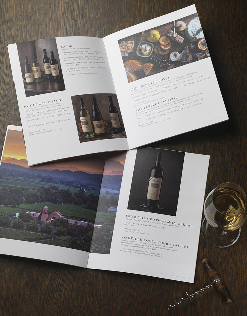 Groth Vineyards & Winery Gift Catalog Inside Spread Design