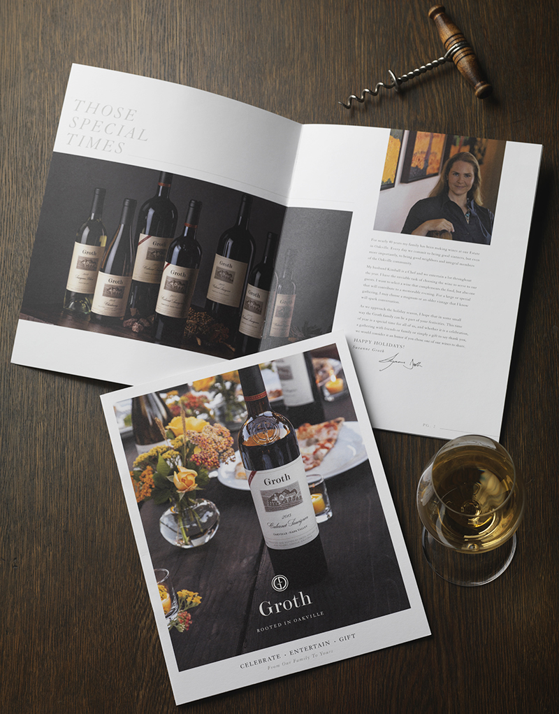 Groth Vineyards & Winery Gift Catalog Design Cover and Inside Spread