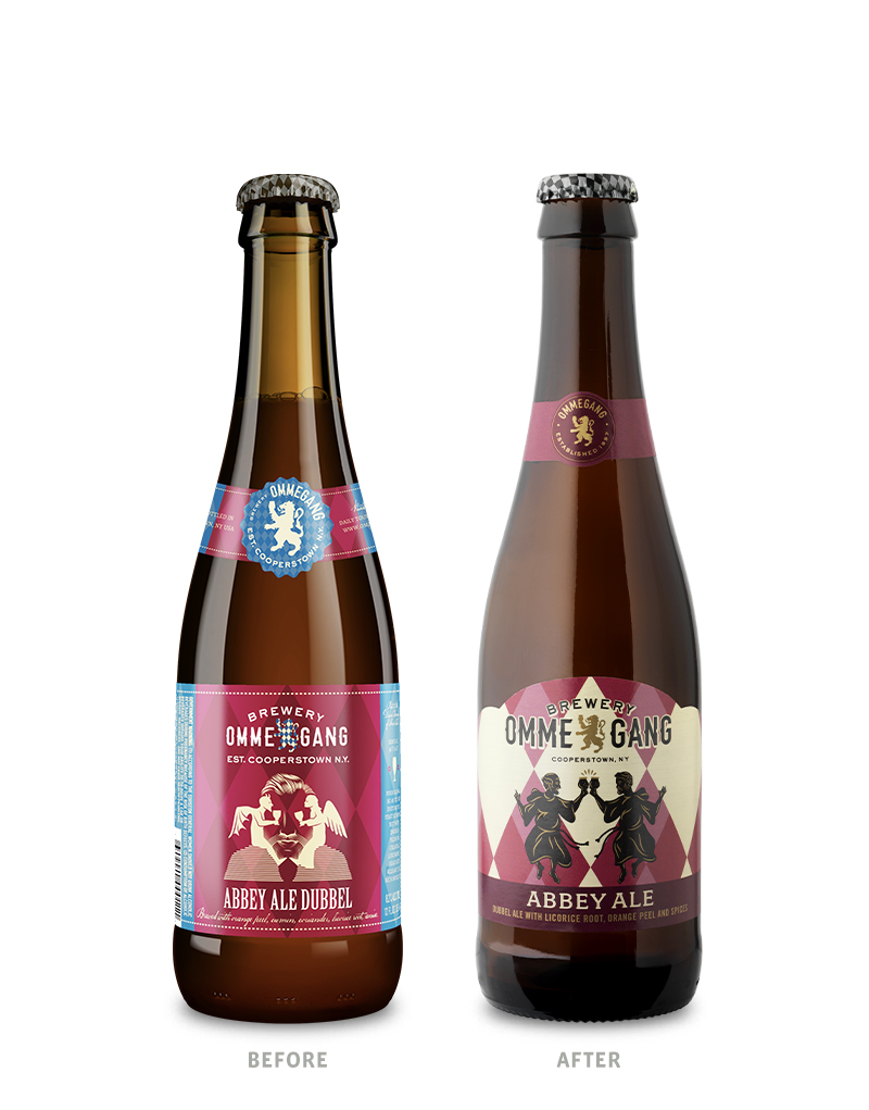 Brewery Ommegang 12oz Abbey Ale Beer Packaging Before Redesign on Left & After on Right
