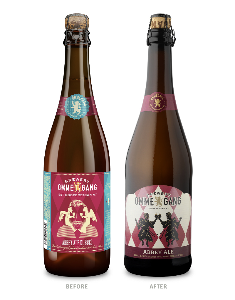 Brewery Ommegang 750ml Abbey Ale Beer Packaging Before Redesign on Left & After on Right