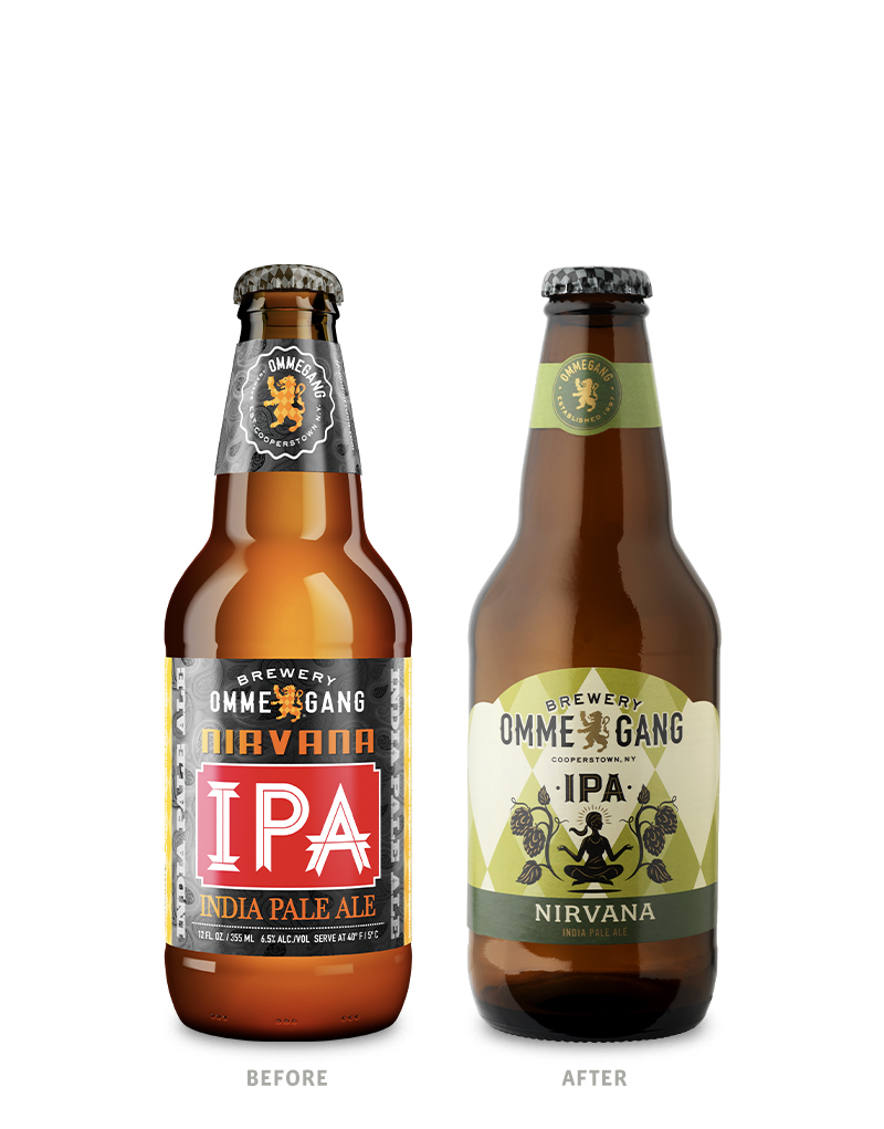 Brewery Ommegang 12oz Nirvana Beer Packaging Before Redesign on Left & After on Right