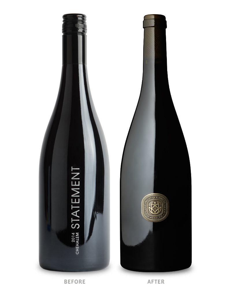 Chehalem Winery Statement Tier 3 Wine Packaging Before Redesign on Left & After on Right