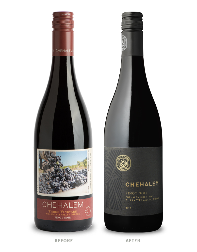 Chehalem Winery Tier 1 Before Packaging Redesign on Left & After on Right