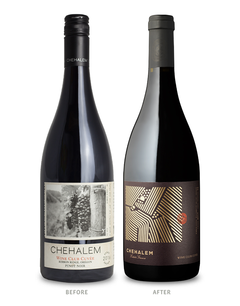 Chehalem Winery Wine Club Cuvée Packaging Before Redesign on Left & After on Right