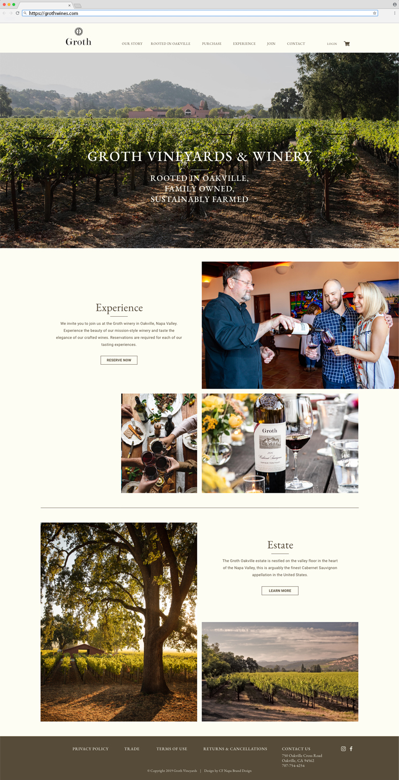 Groth Vineyards & Winery Homepage Website Design