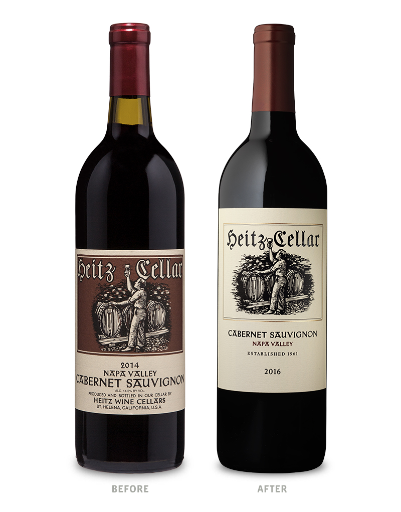 Heitz Cellar Napa Valley Cabernet Sauvignon Packaging Before Redesign on Left & After on Right
