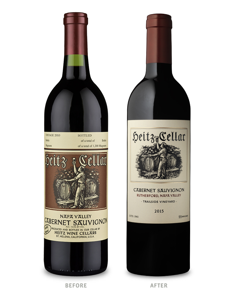 Heitz Cellar Trailside Vineyard Cabernet Sauvignon Packaging Before Redesign on Left & After on Right
