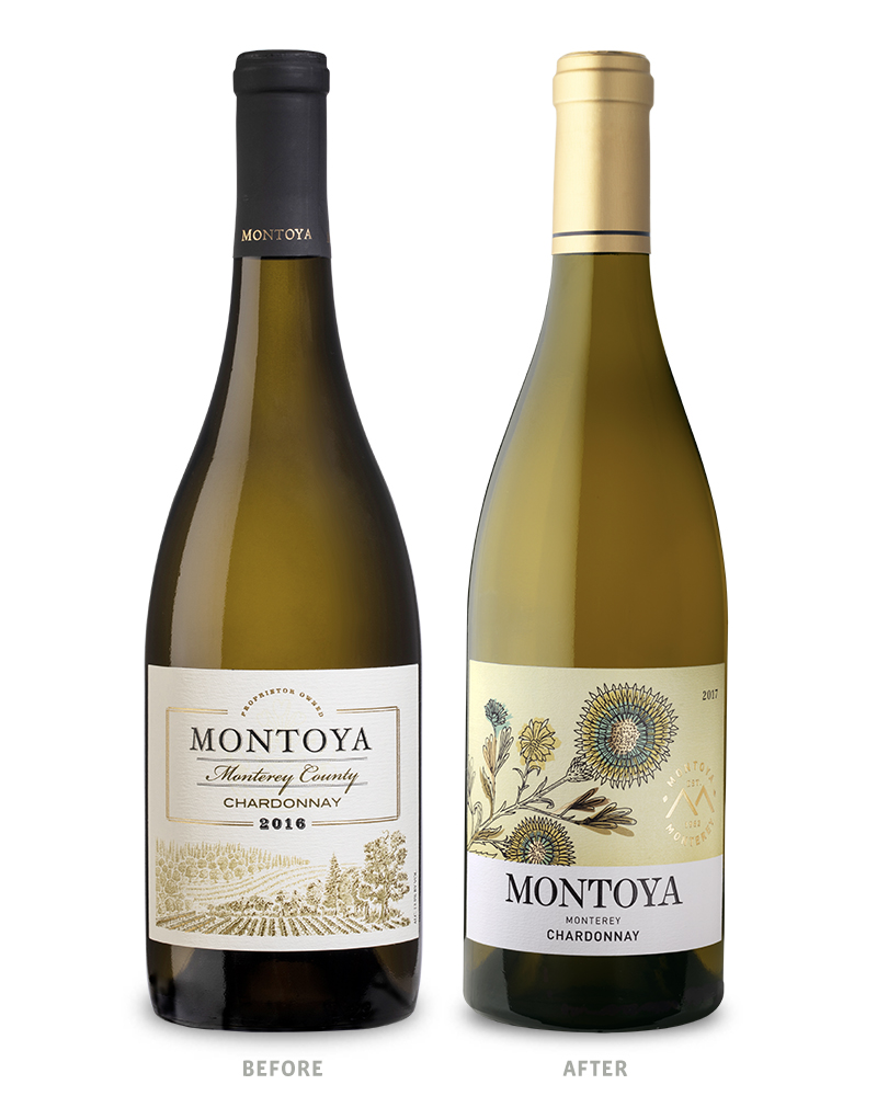 Montoya Chardonnay Wine Packaging Before Redesign on Left & After on Right
