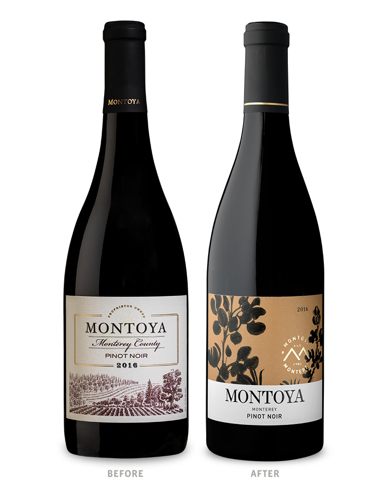 Montoya Pinot Noir Wine Packaging Before Redesign on Left & After on Right