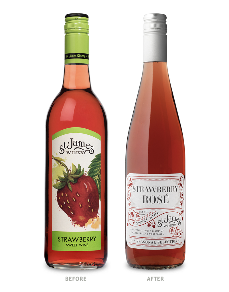St. James Winery Seasonal Strawberry Rosé Wine Packaging Before Redesign on Left & After on Right