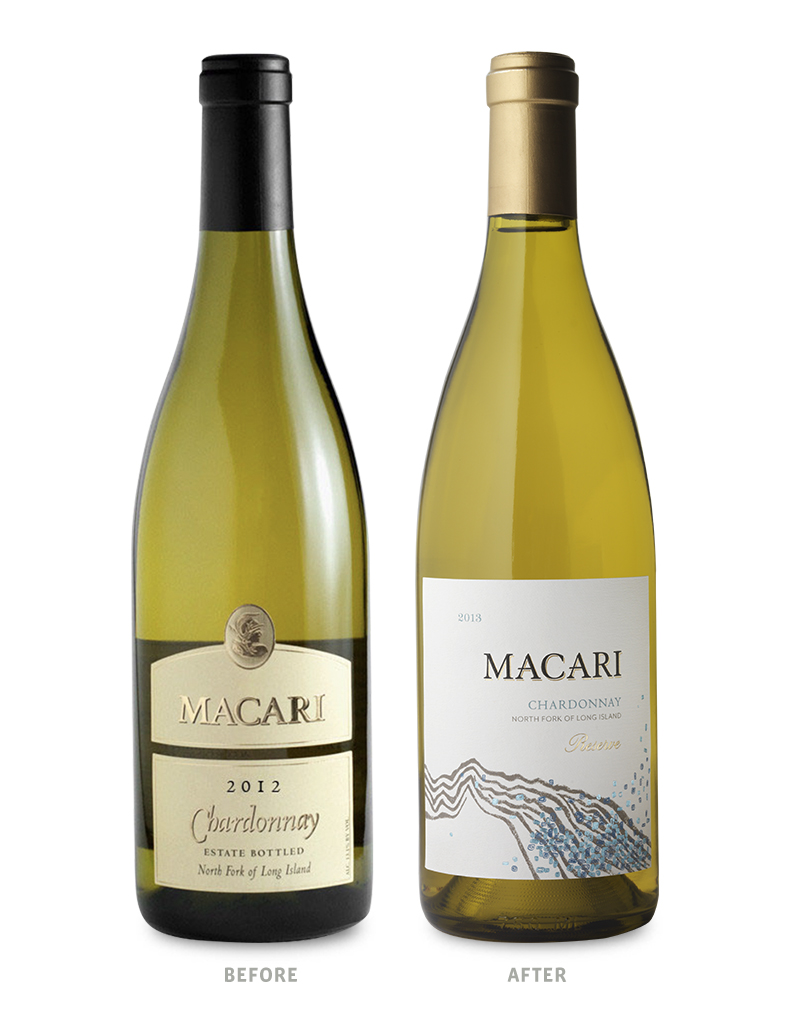 Macari Vineyards Wine Packaging Before Redesign on Left & After on Right