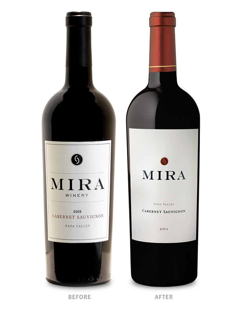 Mira Winery Packaging Before Redesign on Left & After on Right