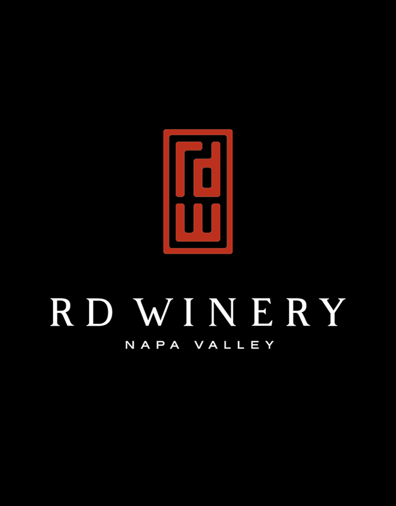 RD Winery Logo Design with Black Background