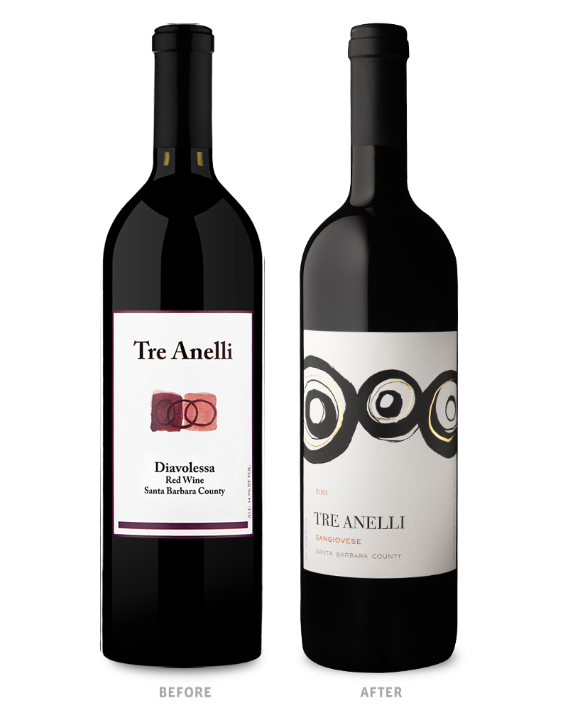 Tre Anelli Wine Packaging Before Redesign on Left & After on Right