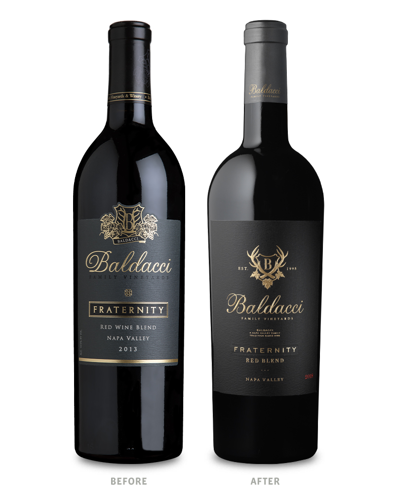 Baldacci Family Estate Vineyards Fraternity Wine Packaging Before Redesign on Left & After on Right
